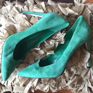 Nine West Tina (Green Suede) Heels